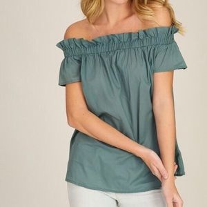 NWT Listicle Off Shoulder Ruffle Shirred Top S